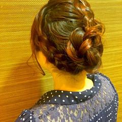 編み込み まとめ髪 セミロング ヘアアレンジ ヘアスタイルや髪型の写真・画像