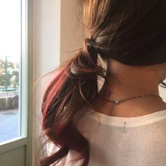 ロング ストリート ゆるふわ インナーカラー ヘアスタイルや髪型の写真・画像