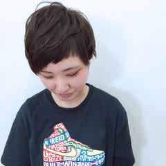 アッシュ アシメバング 前髪あり ショートバング ヘアスタイルや髪型の写真・画像