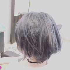 モード 暗髪 シルバー ボブ ヘアスタイルや髪型の写真・画像