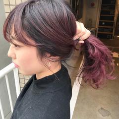 外ハネ ピンク ミディアム ストリート ヘアスタイルや髪型の写真・画像