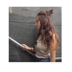 外国人風 ハーフアップ ヘアアレンジ ロング ヘアスタイルや髪型の写真・画像