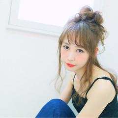 簡単ヘアアレンジ ハーフアップ ショート セミロング ヘアスタイルや髪型の写真・画像