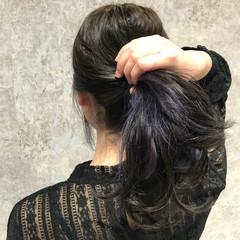 インナーカラー 外国人風 モード ロング ヘアスタイルや髪型の写真・画像