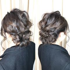 ミディアム ヘアアレンジ 編み込み 結婚式 ヘアスタイルや髪型の写真・画像