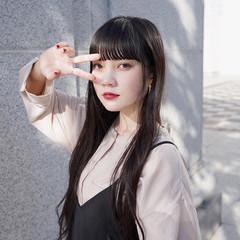 ストレート 韓国ヘア 暗髪女子 前髪 ヘアスタイルや髪型の写真・画像