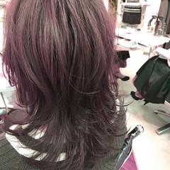 ミディアム ストリート レイヤーカット 外ハネ ヘアスタイルや髪型の写真・画像