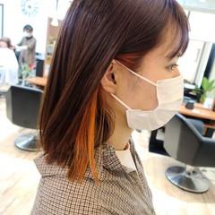 ボブ ロブ アプリコットオレンジ ガーリー ヘアスタイルや髪型の写真・画像