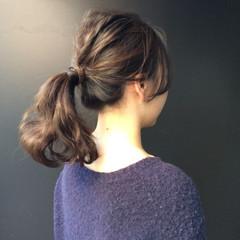 ナチュラル 女子会 ポニーテール ヘアアレンジ ヘアスタイルや髪型の写真・画像