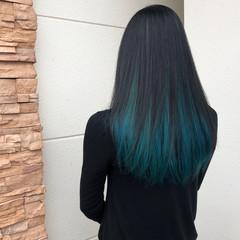 モード セミロング インナーカラー 黒髪 ヘアスタイルや髪型の写真・画像