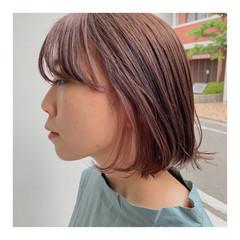 ストリート インナーカラーパープル ボブ インナーカラーオレンジ ヘアスタイルや髪型の写真・画像