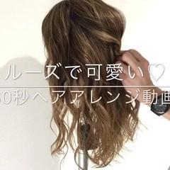 セミロング ねじり ヘアアレンジ 女子会 ヘアスタイルや髪型の写真・画像