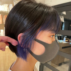 ナチュラル ショート ショートボブ インナーカラー ヘアスタイルや髪型の写真・画像