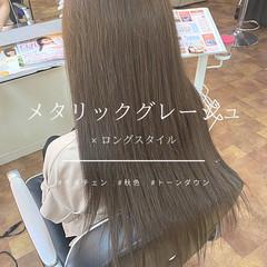アッシュグレージュ ロング ナチュラル グレーアッシュ ヘアスタイルや髪型の写真・画像