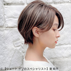 ショート コンパクトショート 丸みショート ナチュラル ヘアスタイルや髪型の写真・画像
