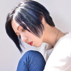 ブルー メッシュ 黒髪 モード ヘアスタイルや髪型の写真・画像