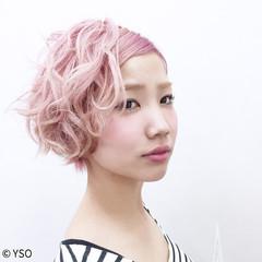 ウェーブ ボブ モード ピンク ヘアスタイルや髪型の写真・画像