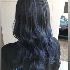 ブルーグラデーション デニム ブルージュ セミロング ヘアスタイルや髪型の写真・画像
