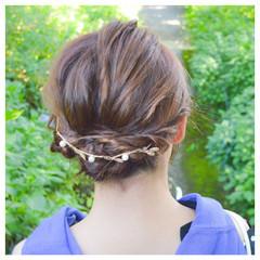 ヘアアレンジ ショート 簡単ヘアアレンジ フェミニン ヘアスタイルや髪型の写真・画像