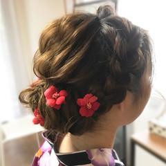ヘアアレンジ フェミニン 和装 編み込み ヘアスタイルや髪型の写真・画像