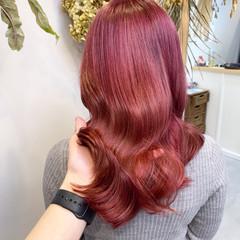 ピンクアッシュ ベリーピンク ピンクラベンダー ピンク ヘアスタイルや髪型の写真・画像