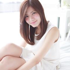 フェミニン 色気 大人かわいい セミロング ヘアスタイルや髪型の写真・画像