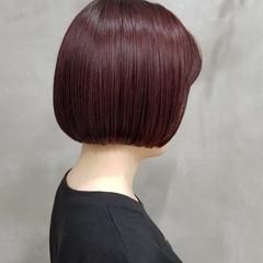 ワンレン ナチュラル ミニボブ 切りっぱなしボブ ヘアスタイルや髪型の写真・画像