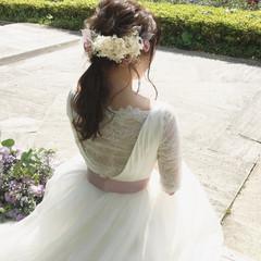 ローポニーテール 結婚式 ポニーテール ナチュラル ヘアスタイルや髪型の写真・画像