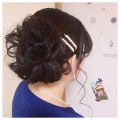 フェミニン 編み込み パーティ ロング ヘアスタイルや髪型の写真・画像