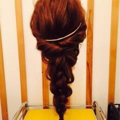 ヘアアレンジ ロング ナチュラル 四つ編み ヘアスタイルや髪型の写真・画像
