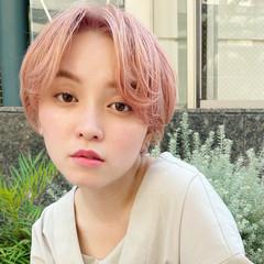 ショート ピンクヘア ショートボブ ミニボブ ヘアスタイルや髪型の写真・画像