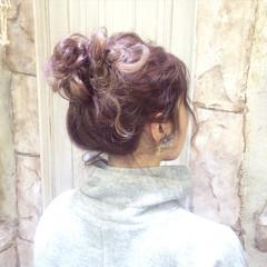 ロング お団子 セルフヘアアレンジ ヘアアレンジ ヘアスタイルや髪型の写真・画像