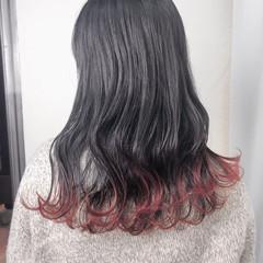 チェリーレッド レッドカラー ナチュラル セミロング ヘアスタイルや髪型の写真・画像