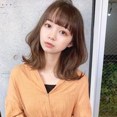 シースルーバング モテ髪 韓国風ヘアー フェミニン ヘアスタイルや髪型の写真・画像
