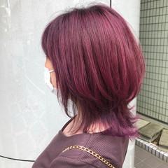 ボルドー ガーリー ピンクバイオレット ミディアム ヘアスタイルや髪型の写真・画像