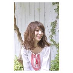 ピュア ガーリー ミディアム 暗髪 ヘアスタイルや髪型の写真・画像
