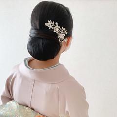 着物 黒髪 シニヨン 和装ヘア ヘアスタイルや髪型の写真・画像