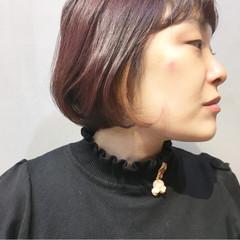 ピンクパープル ボブ ラベンダーピンク ナチュラル ヘアスタイルや髪型の写真・画像