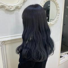 ブルーアッシュ ロング ブルージュ ブルー ヘアスタイルや髪型の写真・画像