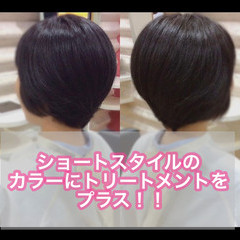 ショートヘア 髪質改善トリートメント ナチュラル 髪質改善 ヘアスタイルや髪型の写真・画像