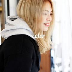 ラベンダーアッシュ ミント ストリート セミロング ヘアスタイルや髪型の写真・画像