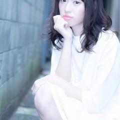 ガーリー かわいい 夏 セミロング ヘアスタイルや髪型の写真・画像