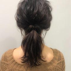 ヘアアレンジ ゆるふわ セミロング ウェーブ ヘアスタイルや髪型の写真・画像