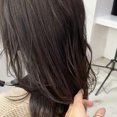 3Dハイライト ベージュ ナチュラル ミディアム ヘアスタイルや髪型の写真・画像