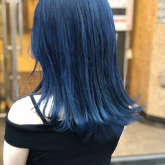 ブルーブラック フェミニン 韓国 ネイビーブルー ヘアスタイルや髪型の写真・画像