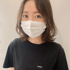 韓国ヘア ミディアム くびれミディ 透明感カラー ヘアスタイルや髪型の写真・画像