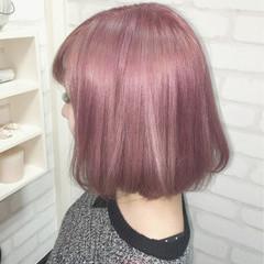 色気 ピンク ボブ ハイトーン ヘアスタイルや髪型の写真・画像