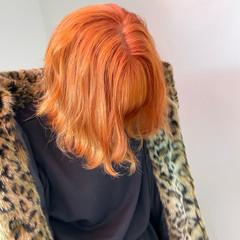 切りっぱなしボブ アプリコットオレンジ オレンジベージュ ガーリー ヘアスタイルや髪型の写真・画像