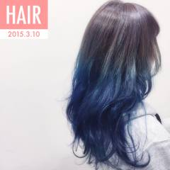 ロング グラデーションカラー ストリート ガーリー ヘアスタイルや髪型の写真・画像