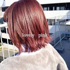 ベリーピンク ガーリー ナチュラル可愛い ピンクブラウン ヘアスタイルや髪型の写真・画像